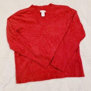 Worthington Red Soft Fuzzy V-Neck Sweater XLP